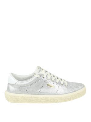 GOLDEN GOOSE: sneakers - Sneaker Tennis in pelle metallizzata argento