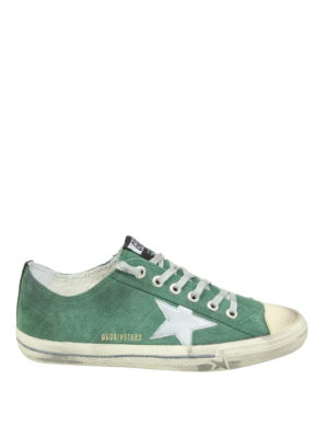 Golden Goose: trainers - V-Star 2 green suede sneakers