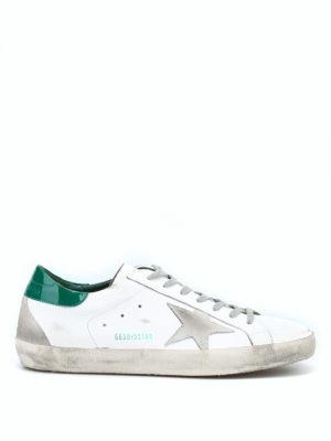 GOLDEN GOOSE: sneakers - Sneaker Superstar bianche e verdi