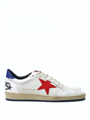 GOLDEN GOOSE: sneakers - Sneaker bianche Ball Star con stella rossa
