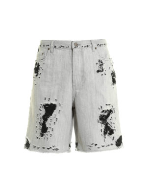 Golden Goose: Trousers Shorts - Destroyed denim shorts