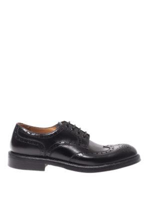 Green George: scarpe stringate - Derby brogue in pelle lucida nera