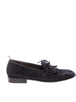 Green George: Loafers & Slippers - Fringe detailed suede loafers