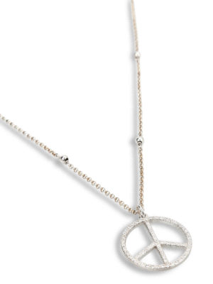 Gregio: Necklaces & Chokers online - Zirconia peace sign necklace