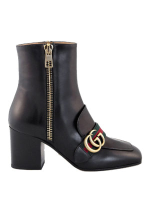 Gucci: ankle boots - Double G and Web detail booties