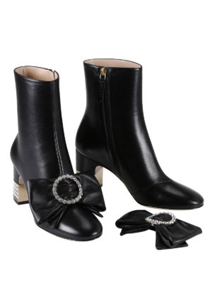 Gucci: ankle boots online - Removable bow leather ankle boots
