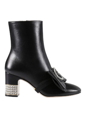 Gucci: ankle boots - Removable bow leather ankle boots