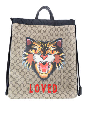 Gucci: backpacks - Angry Cat GG canvas flat backpack