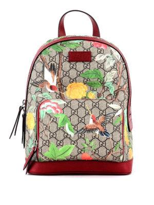 Gucci: backpacks - Tian printed GG Supreme backpack