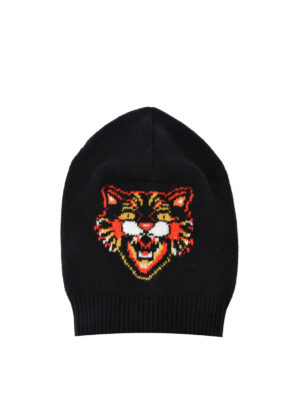 Gucci: beanies - Tiger embroidery wool beanie