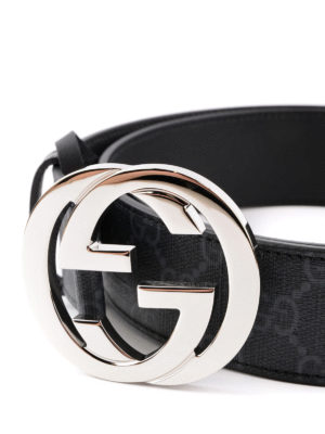 Gucci: belts online - GG Supreme and leather belt