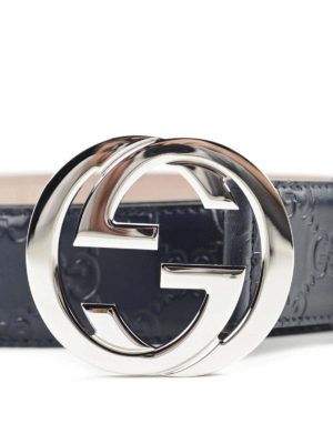 Gucci: belts online - Interlocking GG leather belt