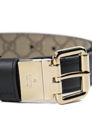 Gucci: belts online - Reversible leather and canvas belt