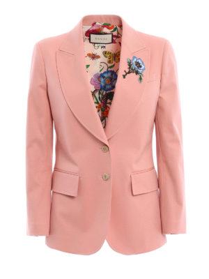 Gucci: blazers - Floral patch cotton blazer