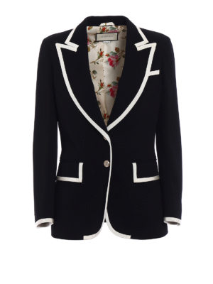 Gucci: blazers - Grosgrain trimmed light cady blazer