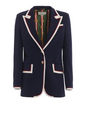 GUCCI: giacche blazer - Giacca in cady con profili in gros grain