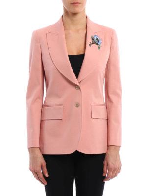 Gucci: blazers online - Floral patch cotton blazer
