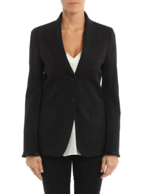 Gucci: blazers online - Plisse sleeve hem wool blend blazer