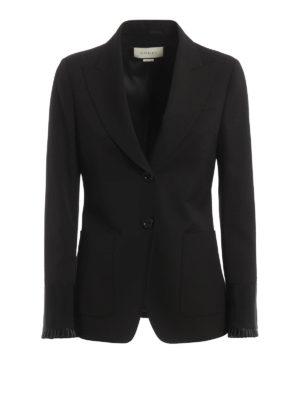 Gucci: blazers - Plisse sleeve hem wool blend blazer