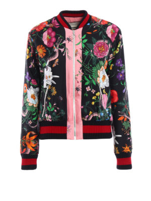 Gucci: bombers - Flora Snake print silk bomber