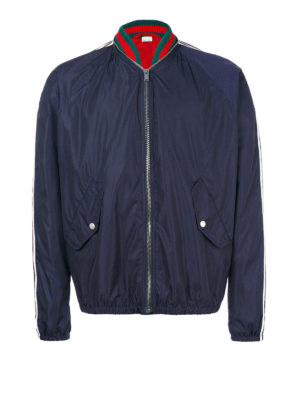 Gucci: bombers - Nylon Web detailed bomber jacket