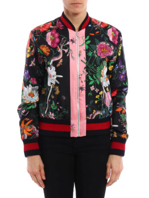 Gucci: bombers online - Flora Snake print silk bomber
