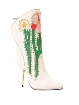Gucci: boots online - Flowers intarsia leather boots
