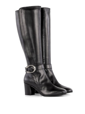 Gucci: boots online - Tiger head detailed leather boots