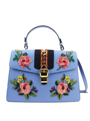Gucci: bowling bags - Flower appliques leather bag