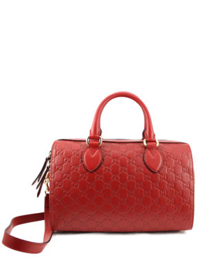 Gucci: bowling bags - Gucci Signature leather bowling bag
