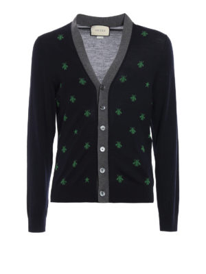 Gucci: cardigans - Bees and stars wool cardigan