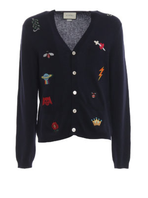 GUCCI: cardigan - Cardigan stile preppy in lana blu con ricami