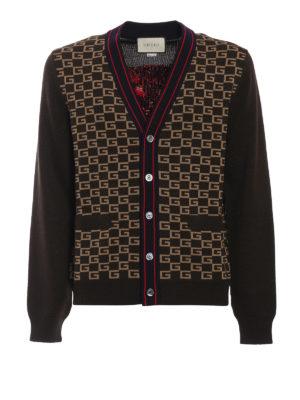 GUCCI: cardigan - Cardigan in lana con GG a intarsia