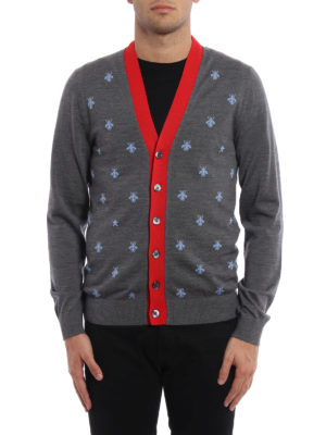 Gucci: cardigans online - Bees and stars wool cardigan