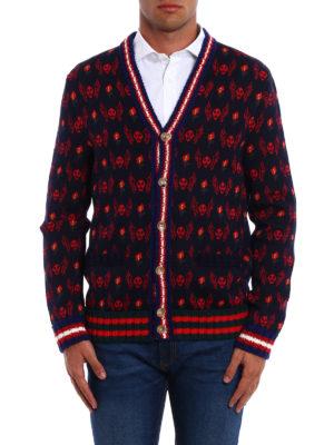Gucci: cardigans online - Skull jacquard wool cardigan