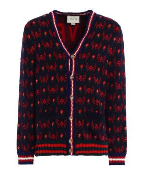 Gucci: cardigans - Skull jacquard wool cardigan
