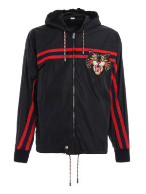 Gucci: casual jackets - Angry Cat patch windbreaker