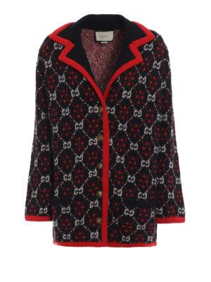 GUCCI: giacche casual - Giacca in alpaca e lana jacquard a rombi GG