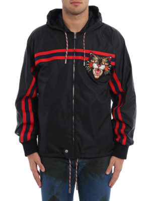 Gucci: casual jackets online - Angry Cat patch windbreaker