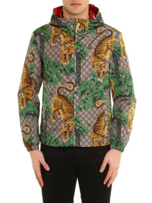 Gucci: casual jackets online - Bengal print nylon jacket