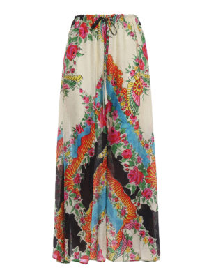 Gucci: casual trousers - Floral print flared trousers
