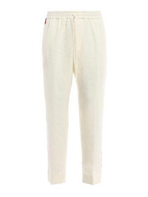 GUCCI: pantaloni casual - Pantaloni in lino con gros grain