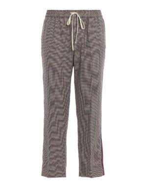 GUCCI: pantaloni casual - Pantaloni in lana e mohair pied-de-poule