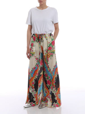 Gucci: casual trousers online - Floral print flared trousers