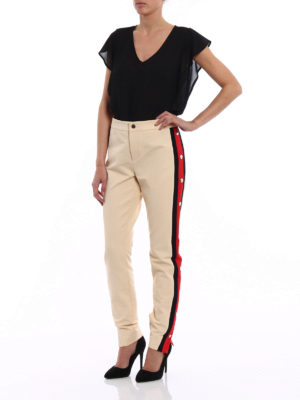 Gucci: casual trousers online - Web band stretch trousers
