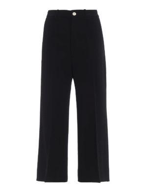 GUCCI: pantaloni casual - Culotte svasate in crepe cady strutturato