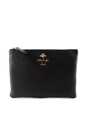 Gucci: clutches - Bee detailed hammered leather pouch