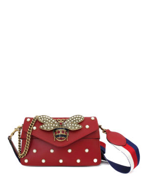 Gucci: clutches - Broadway leather embellished clutch