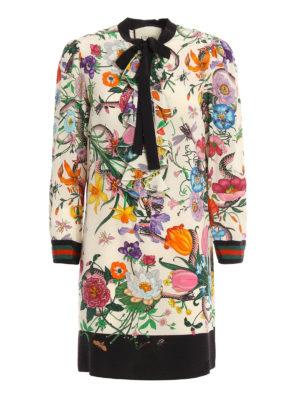 Gucci: cocktail dresses - Flora Snake print silk shirt dress