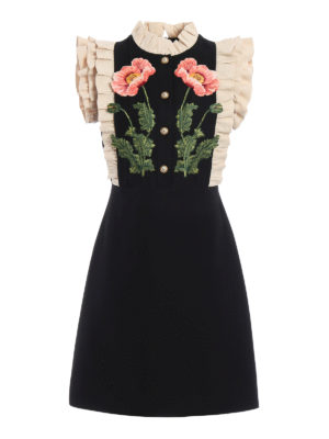 Gucci: cocktail dresses - Floral pattern wool and silk dress
